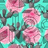 Nahtloses Muster mit abstrakten geometrischen Formen, Blume und Kaktus Linie Kunsthintergrund Stockfotos