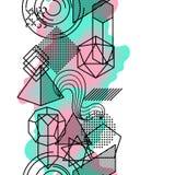 Nahtloses Muster mit abstrakten geometrischen Formen Linie Kunsthintergrund Lizenzfreie Stockfotografie