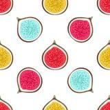 Nahtloses Muster mit abstrakten varicoloured Hälftefeigen Gesunder Nachtisch Fruchtiger wiederholender Hintergrund Hand gezeichne stock abbildung
