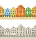 Nahtloses Muster mit alten Häusern lizenzfreie abbildung