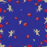 Nahtloses Muster mit Amoren und Herzen Set 2 Stockbilder