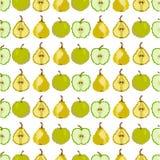 Nahtloses Muster mit Apfel und Birne pixel stickerei Vektor vektor abbildung