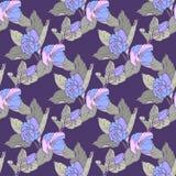 Nahtloses Muster mit Apfelblüte Rundes Kaleidoskop von Blumen und von Florenelementen Stockfotos