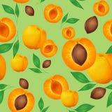 Nahtloses Muster mit Aprikosen und grünen Blättern auf olivgrünem Hintergrund vektor abbildung