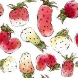 Nahtloses Muster mit Aquarell-Erdbeeren Stockfoto
