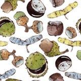 Nahtloses Muster mit Aquarell-Samen und Nüssen Stockbilder