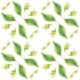 Nahtloses Muster mit Aquarellblättern Lizenzfreie Stockfotos