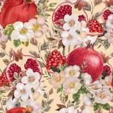 Nahtloses Muster mit Aquarellblumen, -pfingstrosen und -granatäpfeln stockfotos