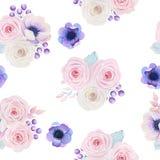 Nahtloses Muster mit Aquarellblumensträußen Lizenzfreie Stockfotografie