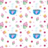 Nahtloses Muster mit Aquarellelementen von Herzen, von Bällen, von Schlüssel, von Liebesbrief, von Blumen, von Herzen und von Pfe lizenzfreie stockbilder