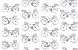 Nahtloses Muster mit Aquarellfahrrädern auf einem weißen Hintergrund Rasterillustration f?r Design lizenzfreie abbildung