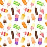 Nahtloses Muster mit Aquarellfrucht und SchokoladenEiscreme auf dem Stock lokalisiert auf weißem Hintergrund lizenzfreie stockfotografie