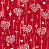 Nahtloses Muster mit aufwändigen Herzen und Linien Stockbild