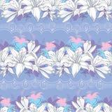 Nahtloses Muster mit aufwändiger Lilienblume im Weiß Lizenzfreie Stockfotos