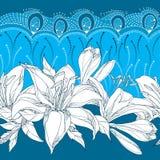 Nahtloses Muster mit aufwändiger Lilienblume im Weiß, in den Knospen, in den Blättern und in der dekorativen Spitze auf dem blaue Stockbild