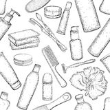 Nahtloses Muster mit ausführlicher Skizze von Elementen für Bad Lizenzfreie Stockfotografie