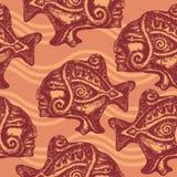 Nahtloses Muster mit aztekischen Fischen Lizenzfreies Stockbild