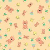 Nahtloses Muster mit Bären, piramodka, Bällen und den Attrappen des Babys (Friedensstifter) Stockbild
