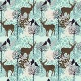 Nahtloses Muster mit Bäumen, Rotwild und Vögeln Stockfoto