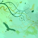 Nahtloses Muster mit Bäumen und Niederlassungen extrahieren Muster mit Vögeln Stockfotografie