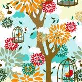 Nahtloses Muster mit Bäumen, Vögeln im Käfig und Blumenverzierung Stockfotografie