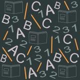 Nahtloses Muster mit Büchern in der flachen Designart Stockfotos