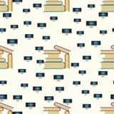 Nahtloses Muster mit Büchern und Computer mit Internet Stockfoto