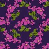 Nahtloses Muster mit Bündeln der violetten Blumen im Retrostil Lizenzfreies Stockbild