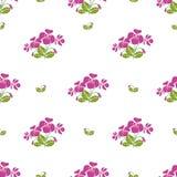 Nahtloses Muster mit Bündeln der violetten Blumen im Retrostil Stockfoto