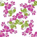 Nahtloses Muster mit Bündeln der violetten Blumen im Retrostil Stockbilder