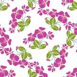 Nahtloses Muster mit Bündeln der violetten Blumen im Retrostil Lizenzfreies Stockfoto