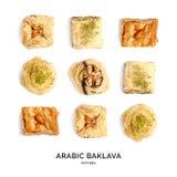 Nahtloses Muster mit Baklava Abstrakter Hintergrund der Bonbons Stockbilder