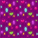 Nahtloses Muster mit Ballonen auf einem purpurroten Hintergrund Stockfotos