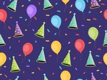 Nahtloses Muster mit Ballonen und Kappen, Konfettis Festlicher Hintergrund von Geschenkverpackungen, Tapete, Gewebe Vektor Stockbild