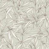 Nahtloses Muster mit Bambusblättern und -niederlassungen im japanischen Schweinestall Stockfoto