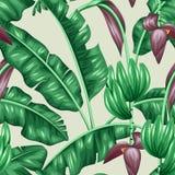Nahtloses Muster mit Bananenblättern Dekoratives Bild des tropischen Laubs, der Blumen und der Früchte Hintergrund außen gemacht Lizenzfreie Stockbilder