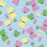 Nahtloses Muster mit Basisrecheneinheiten Grüner, rosa, gelber Schmetterling Stockbild