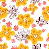 Nahtloses Muster mit Basisrecheneinheiten Hintergrund mit Fliegen beauti Stockbilder