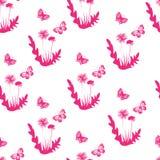 Nahtloses Muster mit Basisrecheneinheiten und Blumen stock abbildung