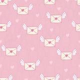 Nahtloses Muster mit Beitragsbuchstaben Lieben Sie Post stock abbildung