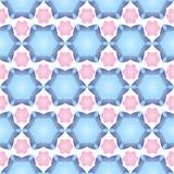 Nahtloses Muster mit bestellter Anordnung für abstrakte geometrische Formen Bild von Sternen und von Blumen auf einem weißen Hint stock abbildung