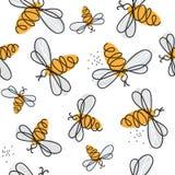 Nahtloses Muster mit Bienen lizenzfreie abbildung