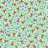 Nahtloses Muster mit Bild von eine lustigen Karikatur Pugs lizenzfreie stockfotografie