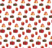 Nahtloses Muster mit Bild von Geschenkboxen Mustergeschenkbox für Gewebedruck, Paketgeschenkboxpapier einwickelnd Rot lizenzfreie abbildung