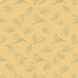 Nahtloses Muster mit Bildern von Vögeln, Eberesche Lizenzfreies Stockfoto