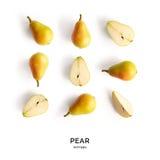 Nahtloses Muster mit Birne Tropischer abstrakter Hintergrund Birnenfrucht auf dem weißen Hintergrund Lizenzfreies Stockfoto