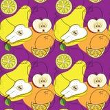 Nahtloses Muster mit Birnen, Äpfeln, Zitronen und Orangen Lizenzfreie Stockbilder