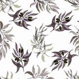 Nahtloses Muster mit Blättern auf einem weißen Hintergrund Watercolour handgemalt Schöner Entwurf für Tapeten, Gewebe, Gewebe stockfotos