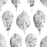 Nahtloses Muster mit Blättern Trocknen Sie Blätter mit Adern Lizenzfreies Stockfoto