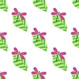 Nahtloses Muster mit Blättern und Libellen Stockfoto